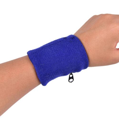 1pc Wrist Sweatband Athletic Sports Wristband Armband Wallet Zipper Pocket 0cn