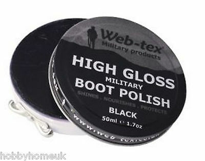 WEBTEX MILITARY GRADE ARMY BOOT POLISH BLACK PARADE GLOSS SHOE SHINE CLEANING