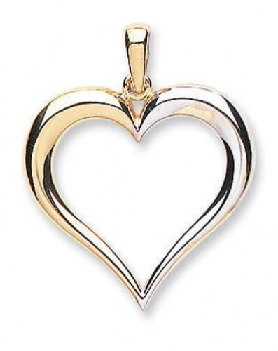Heart Pendant Heart Necklace Yellow and White Gold Heart Two Colour Gold Heart
