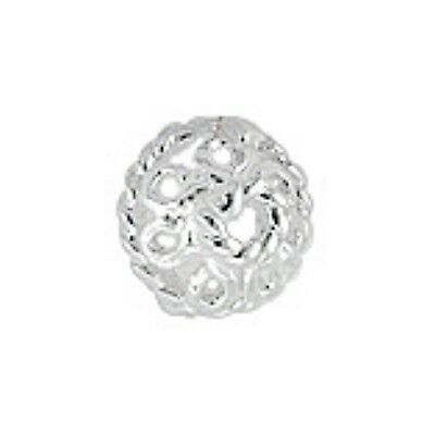 1x 925 sterling silver 6.6mm Round Rope Trim Flower Bead Caps with 1.2mm Hole