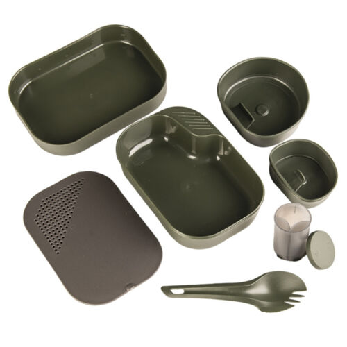 Wildo 7 Piece Camp-a-Box Lightweight Camping Hiking Military Mess Kit Green