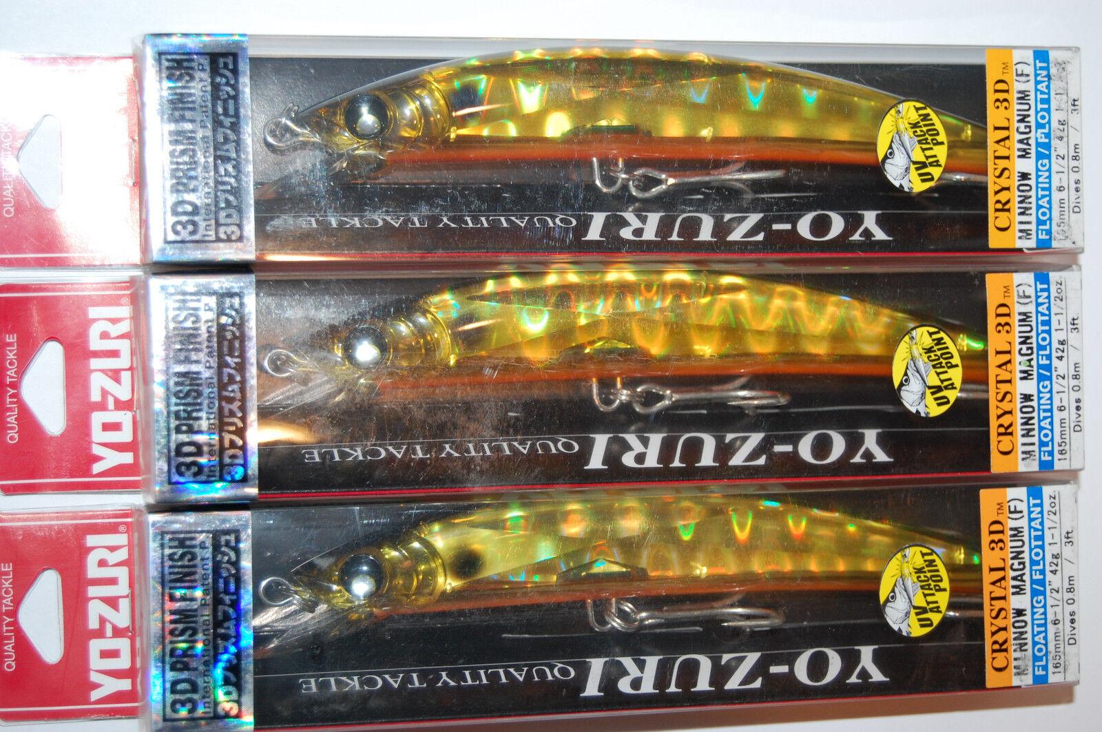 3 Señuelos Yo Zuri  Crystal Minnow 3d Mag 6 1 2  de 1 1 2 Oz f986-hgbl Holo oro Negro  100% precio garantizado