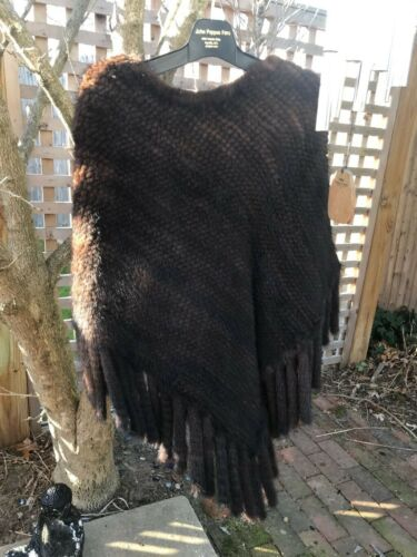 Mink poncho/shawl Knitted mahogany mink, Excellent