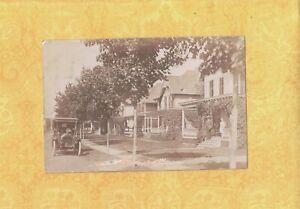 NY Central Bridge area 1909 RPPC real photo postcard HOMES & VINTAGE automobile