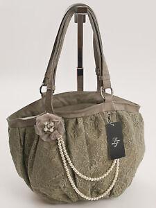71a120c808256 Das Bild wird geladen edle-Vintage-Schultertasche-Citybag-Shopper-Stickerei- Beuteltasche-Taupe-