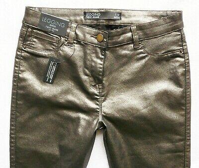 Bnwt Next Leather Look Stretch Jeggings Leggings Bronze Gold Glitter Skinny P