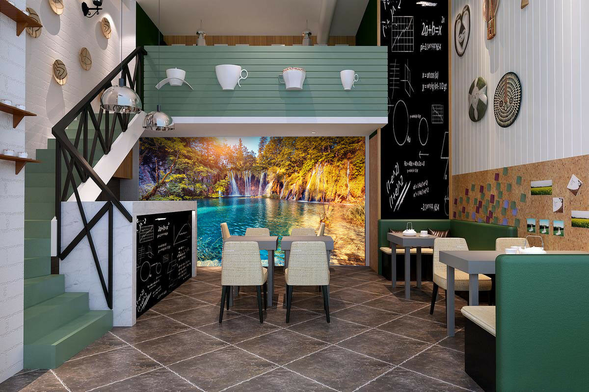 3D Shrubs Sun Lake 7  Wall Paper Murals Wall Print Wall Wallpaper Mural AU Lemon