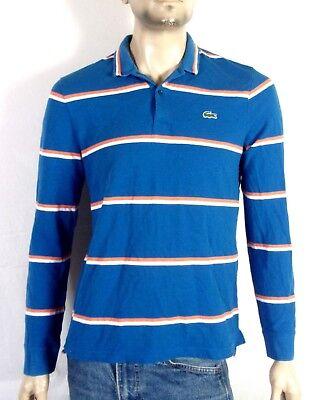 Considerate Euc Lacoste Blau Orange Weiß Gestreift Ls Pique Polohemd Sz 5 Enge Passform L Men's Clothing