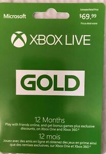 Microsoft Xbox LIVE 12 Month Gold Membership Card for Xbox 360 / XBOX ONE S
