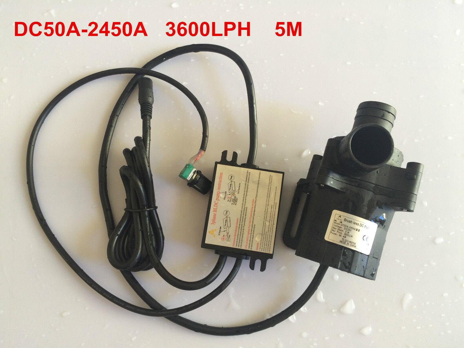 Velocidad ajustable 5-24V 50A-2450A pequeña Detective Comics bomba de agua Bomba Sumergible 3600L H 5M