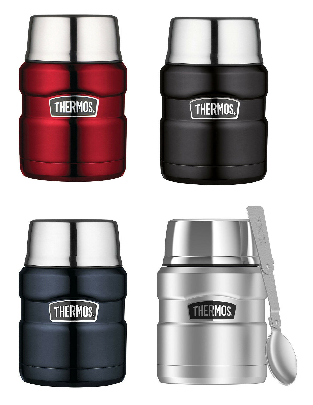 Thermos Stainless Steel King 16-Ounce Food Jars with Folding Spoons