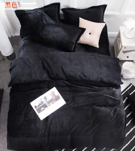 4 PC Flannel Velvet Bed Set Thick Warm Pillow Case Sheet Duvet Cover Multi-color