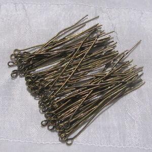 LOT-80-TIGES-A-OEIL-CLOUS-A-BOUCLE-50MM-x-0-7MM-BRONZE-boucles-d-039-oreilles-J145