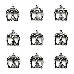 10 x Tibetano Argento 3d Uomo Vitruviano Ciondolo Charms  </span>