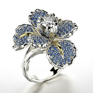 Gorgeous-Flower-Two-Tone-925-Silver-Rings-for-Women-Wedding-Party-Ring-Size-5-10