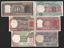indian currency  10 + 5 + 2 + 2 + 1 + 1  rupees  MINI  six  notes  set