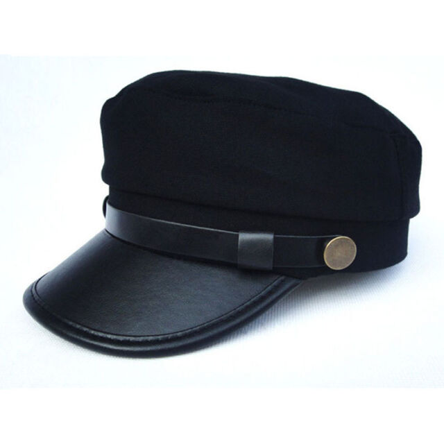 NEW Men Women Army Leather Cap Cadet Military Navy Sailor Flat Top Cotton Hat