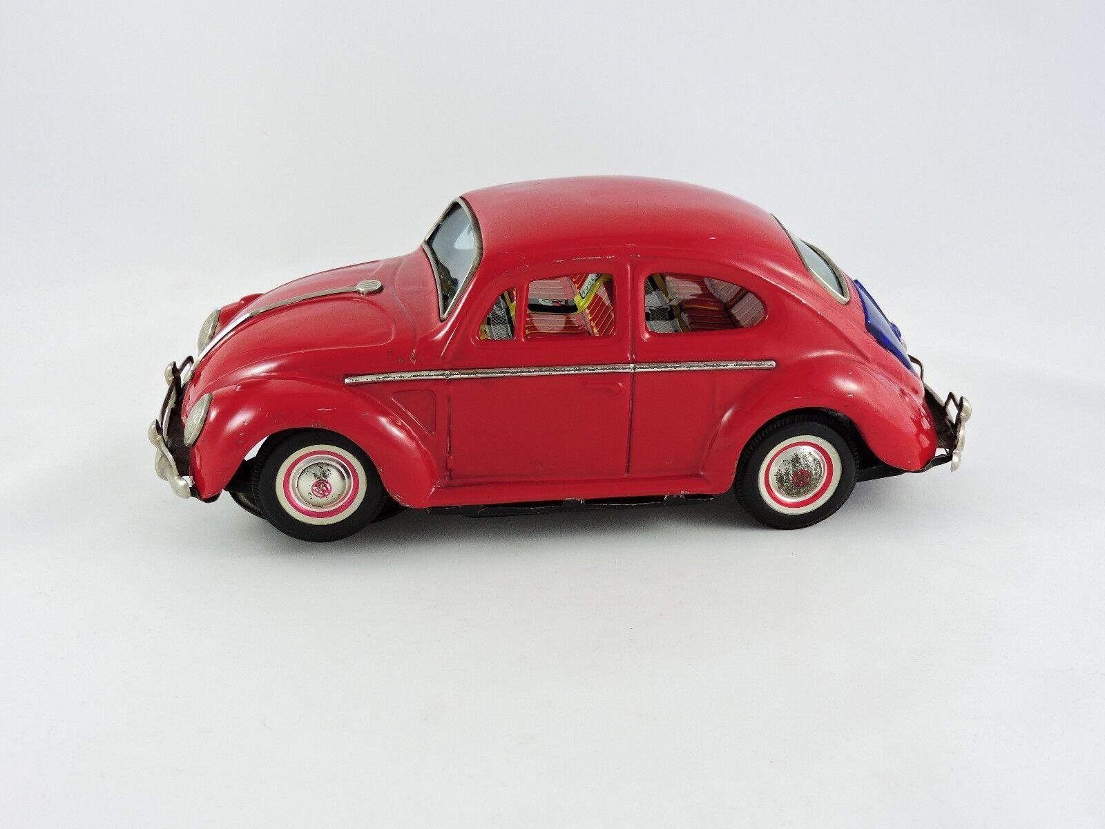 Battery Operated Volkswagen VW Beetle KO Japan Yoshiya red bug car vintage Bump