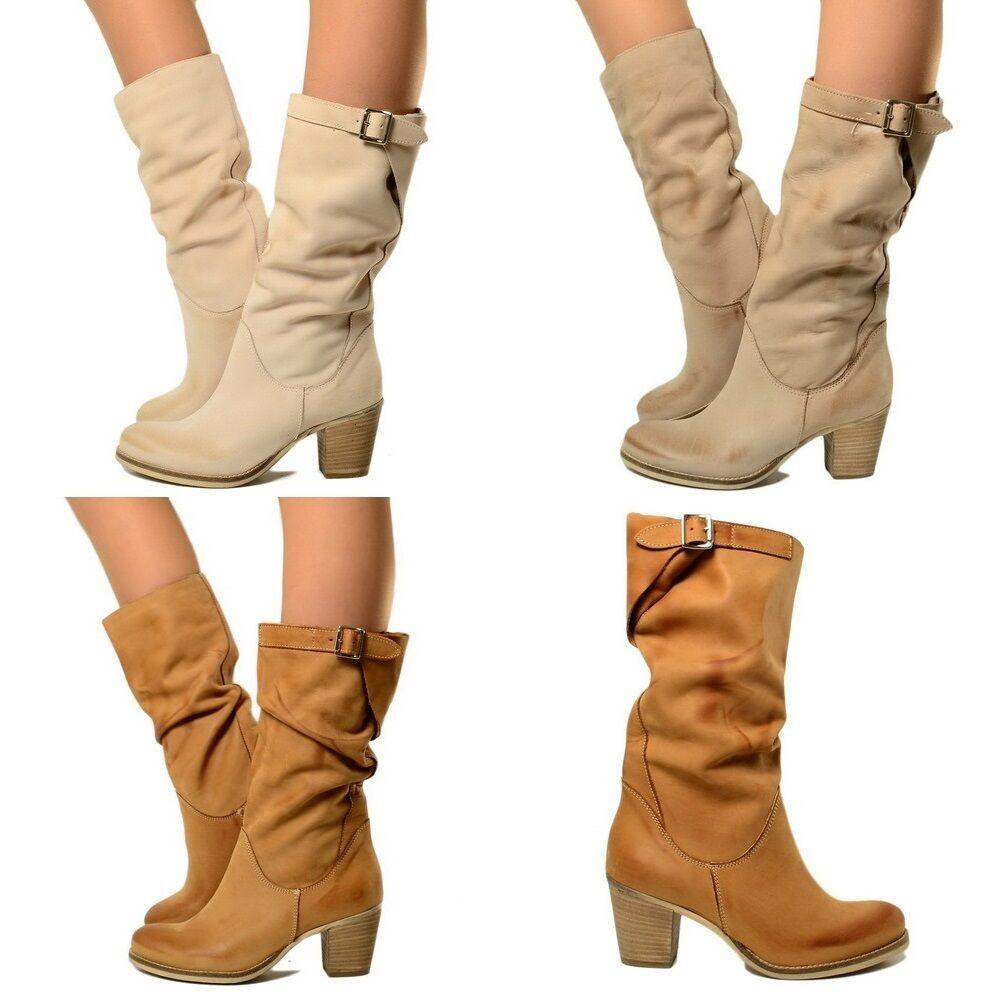 Mid Heel Riding Boots Adjustable Calf Leather Vintage SPRI ab50