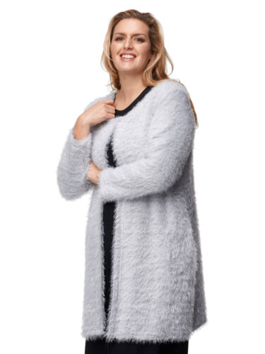 Lang faserig GRIGIO Maltex 24 Lagenlook Donna Giacca Giacca In Maglia Cardigan-Lang