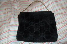VINTAGE GUCCI black velvet GG monogram and leather evening bag handbag