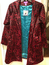 women's winter Fall light plush Leopard faux fur 3/4 coat jacket size L new $149