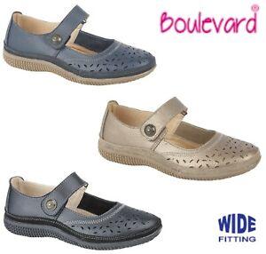 LADIES-LEATHER-Summer-Bar-Wide-Fit-EEE-Shoes-Black-Beige-Navy-Size-3-4-5-6-7-8-9