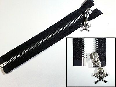 Noir métal Zip bout ouvert YKK Zipper Petit Crâne Puller