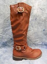 MARK & MADDUX VEGAN LEATHER COGNAC BROWN BOOTS -  SIZE 7