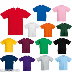 FRUIT OF THE LOOM KIDS BOYS GIRLS T SHIRT TEE - 12 COLOURS ALL AGES ... e5378b0e83ef3