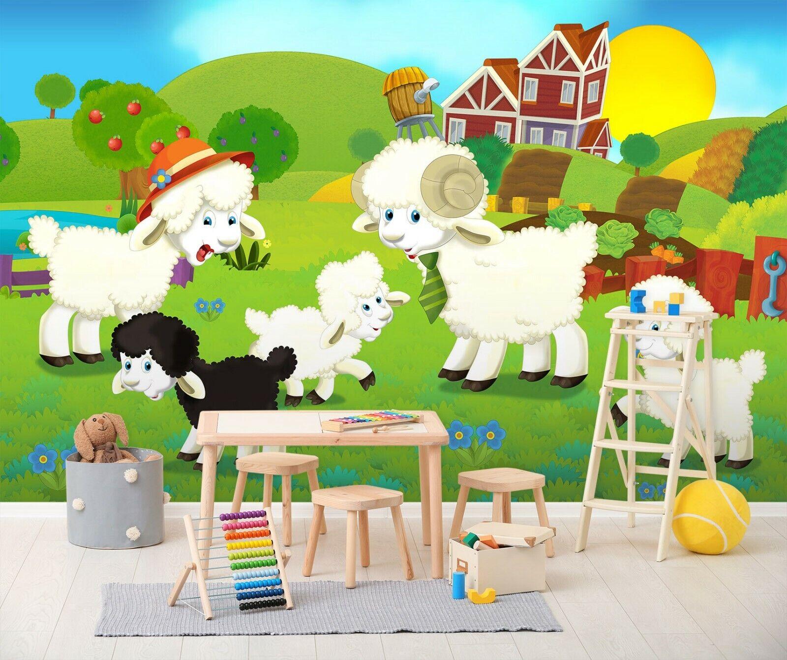 3D Niedliche Schafe M897 Geschäft Tapete Wandgemälde Selbstklebend Handel Amy