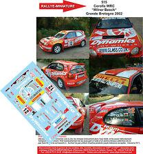 "DÉCALS 1/18 réf 515 Toyota  Corolla WRC  ""Milner Beech"" Grande Bretagne 2002"