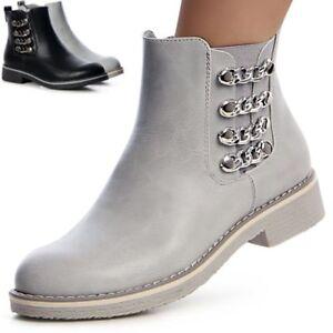 Modestile Detaillierung preiswert kaufen Details zu Damen Stiefeletten Chelsea Boots Booties Ketten Nieten Stiefel