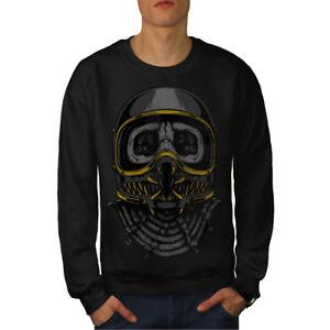 Head Noir Skull Hommes Sweatshirt Nouveau Biker Face kO0wPn