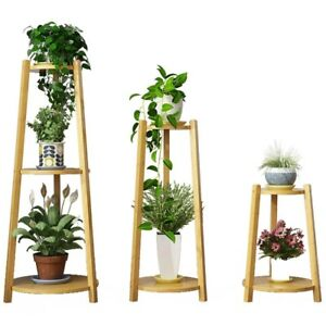 BAMBOO-WOODEN-SHELF-PLANT-STAND-LADDER-ORIGINAL-COLOR-ROUND-TABLE-INDOOR-OUTDOOR