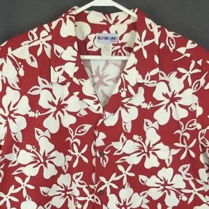 Aloha-Line-Hawaiian-Shirt-2XL-Red-Floral-Hibiscus-Pattern-Cotton-Aloha
