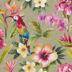 Details About Tropical Parrot Wallpaper Birds Flowers Floral Leaves Leaf Metallic Shiny Gold
