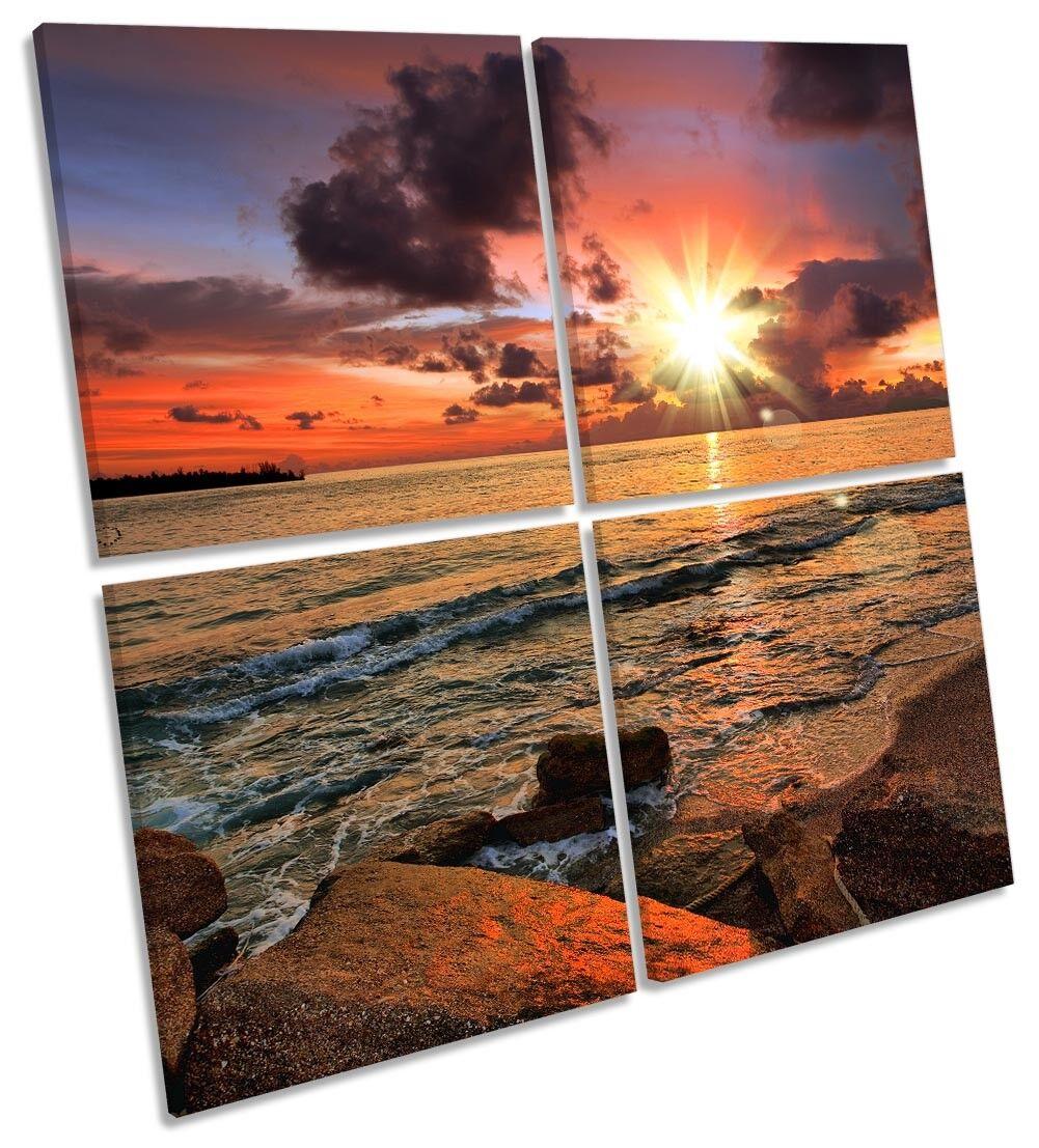 arancia SUNSET BEACH BEACH BEACH incorniciato Multi stampa tela arte Square 41f702