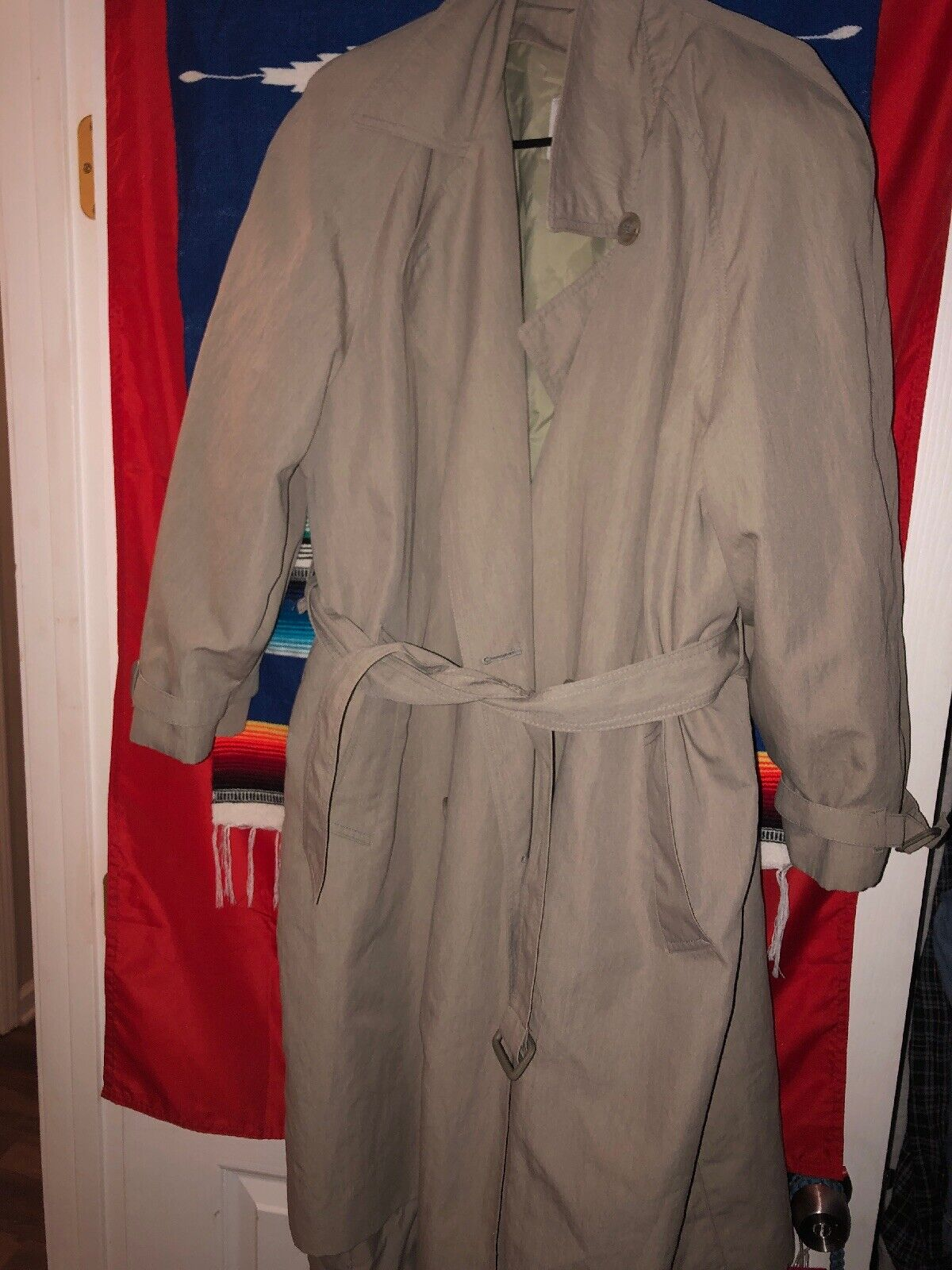 Women London Fog Double Breasted Trench Coat Tan Khaki Size 14 Petite 14P Belted