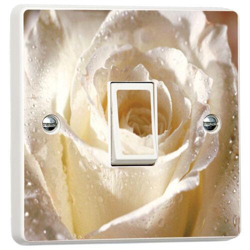 White Rose Flower vibrant Light Commutateur cover skin sticker décalque