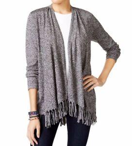 NEW-Style-amp-Co-Fringe-Hem-Open-Front-Cardigan-Sweater-Black-White-Sz-XL-69