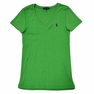 Ralph Lauren Womens T-Shirt Short Sleeve V-Neck Slim Fit Tee Shirt Pony Logo New