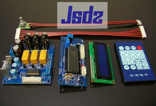 Assembled PGA2311 Remote Audio Preamplifier board ( 3 way  analog input)