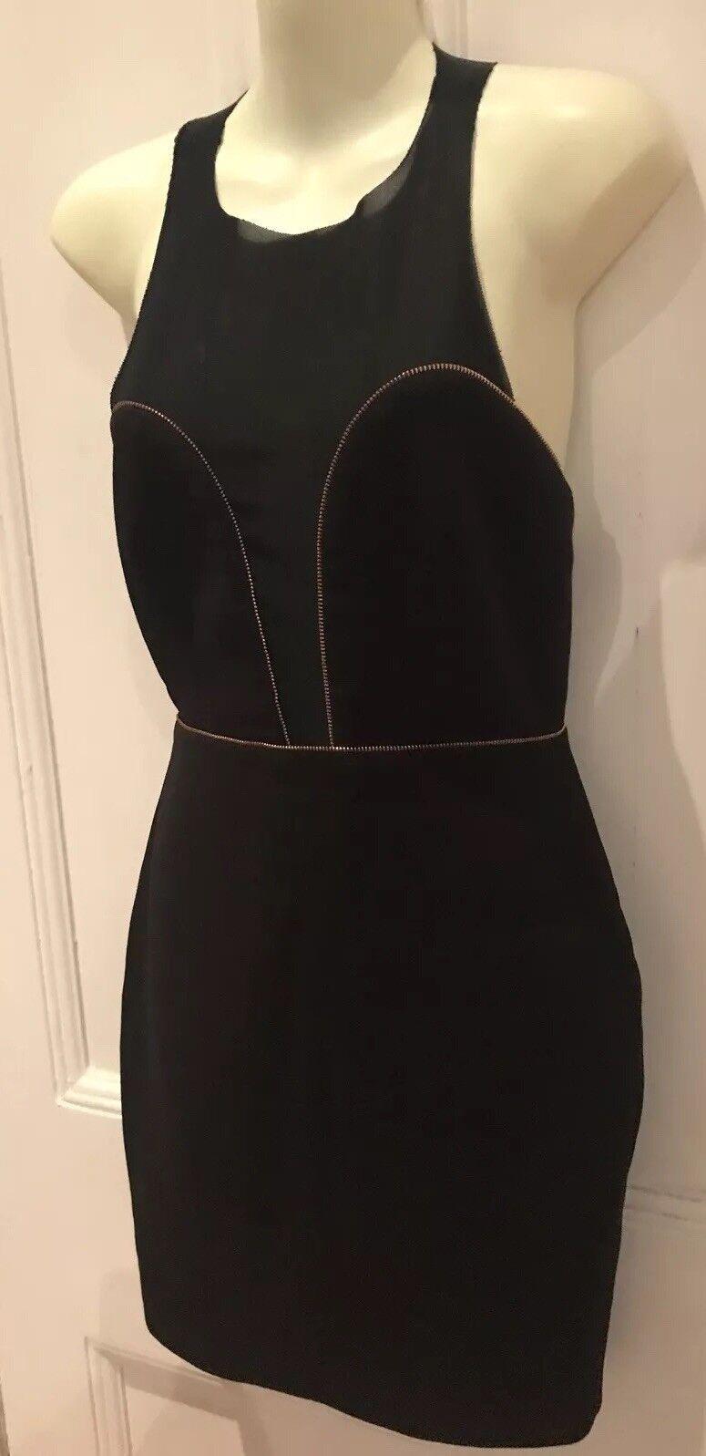 Bec and Bridge-schwarz Mesh-Bodycon Panel Dress-Größe 6