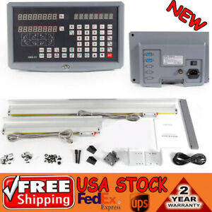 2-Axis-Digital-Readout-Milling-Lathe-Machine-DRO-KIT-Precision-Linear-Scale-UPS