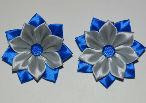 Kanzashi Pair of Handmade Girl/'s SCHOOL Flower Hair Bobbles//Bows//Clips