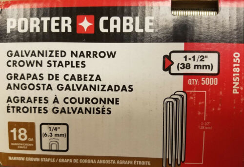 "Porter Cable PNS18150 112"" 18 Gauge Galvanized Narrow Crown Staples 5000 Ct."