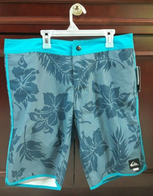 New Quiksilver Mens Board Shorts Swimwear Swimsuit Hawaiian Gray Size 34
