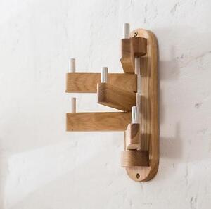 Rotatable Wood Oak Coat Rack Hanger Stand Clothes Hook Modern Wall