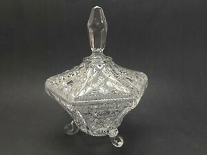 Vintage-Lead-Clear-Crystal-Footed-Candy-Dish-with-Lid
